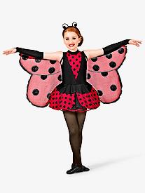 Little Ladybug Girls Peplum Dress