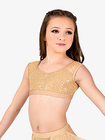 Girls Performance Twinkle Mesh Tank Bra Top
