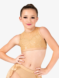 Girls Performance Twinkle Mesh High Neck Tank Bra Top