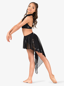 Girls Performance Sheer Twinkle Mesh High-Low Skirt