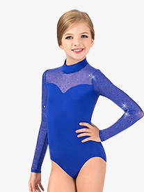 Girls Performance Twinkle Mesh Mock Neck Long Sleeve Leotard