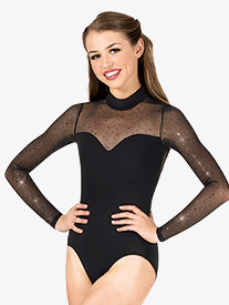 Womens Performance Twinkle Mesh Mock Neck Long Sleeve Leotard