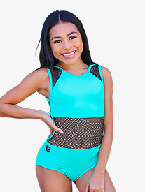 Girls Two-Tone Mesh Panel Tank Leotard
