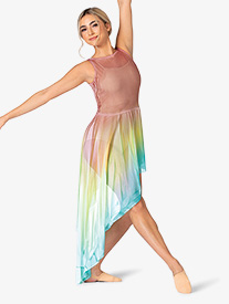 Adult Hand Painted Asymmetrical Side Drape Tank Lyrical Dress