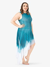 Adult Plus Size Hand Painted Asymmetrical Tank Lyrical Dress