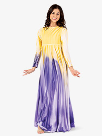 Womens Plus Size Painted Long Circle Worship Dress