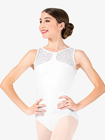 Womens Rose Mesh Neolie Back Cutout Tank Leotard