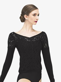 Womens Bonny Knit Lace Long Sleeve Warm Up Sweater