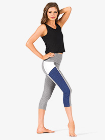 Womens Colorblock Capri Workout Leggings