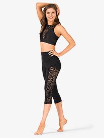 Womens Lace Capri Workout Leggings