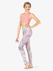 Womens Delicate Pastel Print Yoga Leggings