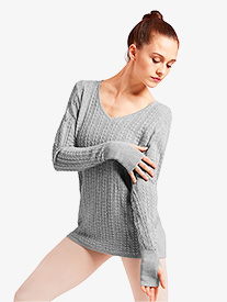 Womens Cable Knit Keyhole Warm Up Sweater