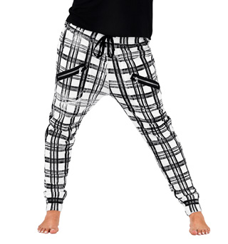 Adult Plaid Zipper Pocket Harem Sweat Pants - Style No 52113P