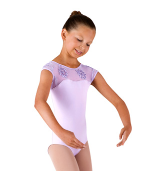 Girls Cap Sleeve Swirl Tulle Leotard - Style No CL4050
