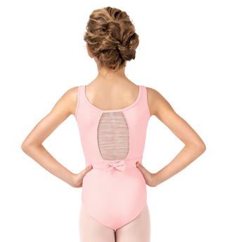 Girls Belted Glitter Bow Back Tank Leotard - Style No CL8675
