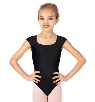Girls Glitter Bow Front Short Sleeve Leotard - Style No CL8852