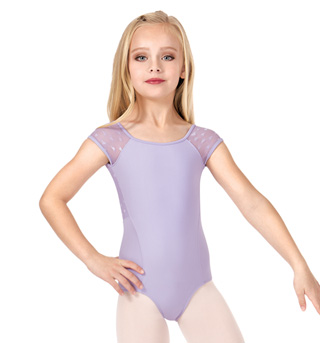 Girls Heart Mesh Back Short Sleeve Leotard - Style No CL8892