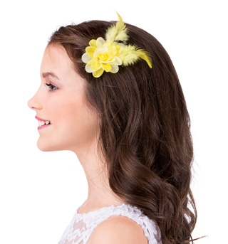 Flower & Feather Hair Clip Pair - Style No D2360