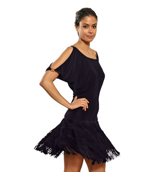 Ladies Blouson Short Sleeve Fringe Dress - Style No D407