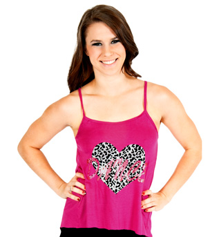 Adult Cheetah Heart Camisole String Back Top - Style No FD0175