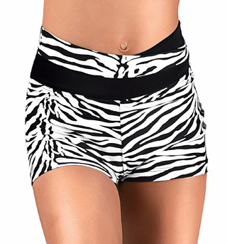Girls Zebra High V-Waist Dance Shorts - Style No FD0211C