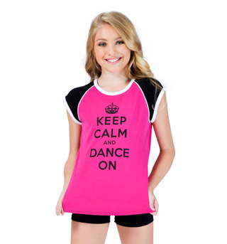 Jr Keep Calm and Dance On Ringer Cap Tee - Style No FP015