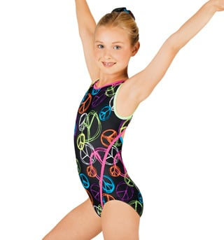 Child Gymnastic Neon Peace Tank Leotard - Style No G516C