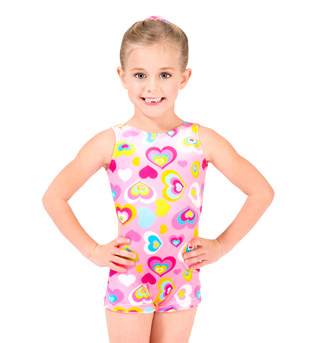 Child Velvet Heart Print Gymnastic Biketard - Style No G550Cx