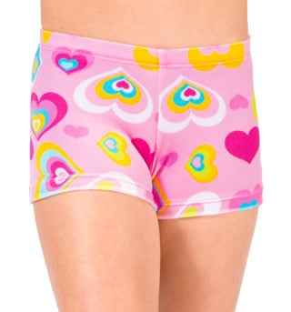 Child Velvet Heart Print Gymnastic Dance Short - Style No G551C