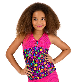 Child Circle Print Sparkle Top - Style No K5100
