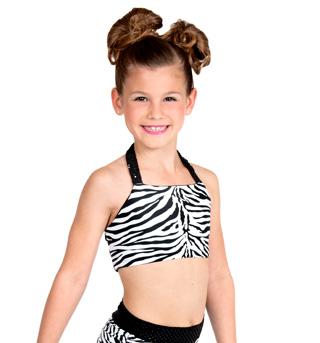 Girls Zebra Halter Bra Top with Strappy Back - Style No K5120