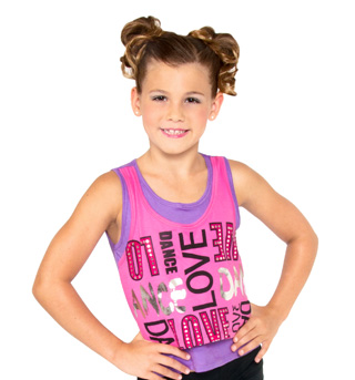 Girls Pink Double Layer Tank Top - Style No K5131