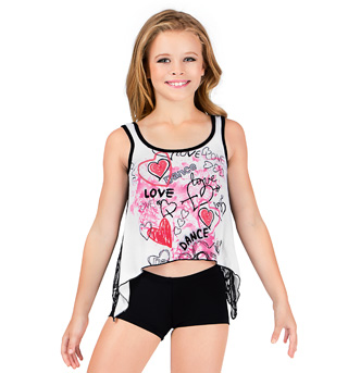 Girls Lace Back White Tank Top - Style No K5207