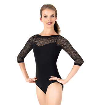 Womens Lace 3/4 Sleeve Leotard - Style No L1172