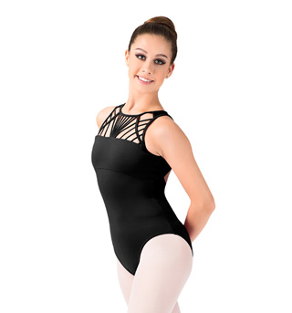 Adult Rouleaux Front High Neck Tank Leotard - Style No L4720