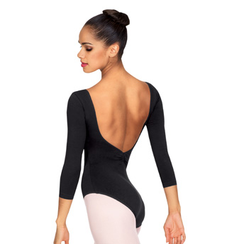 Adult 3/4 Sleeve V-Front Leotard - Style No L5436