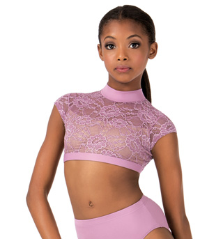 Child Lace Cap Sleeve Dance Crop Top - Style No LC1025