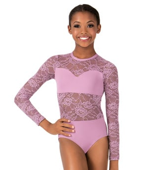 Child Sweetheart Bandeau Lace Long Sleeve Leotard - Style No LC110