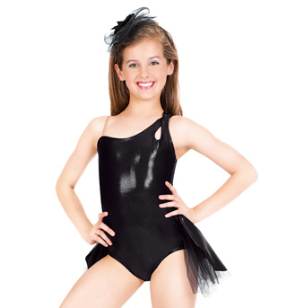 Child One Shoulder Leotard with Bustle - Style No LS110C