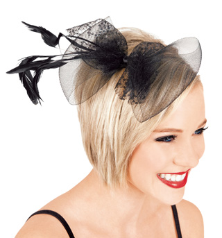 Feather & Net Bow Hair Clip - Style No LS202
