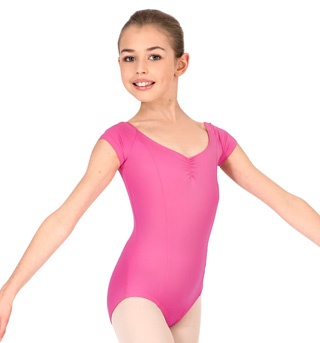Girls Pinch Front Cap Sleeve Leotard - Style No M2149C