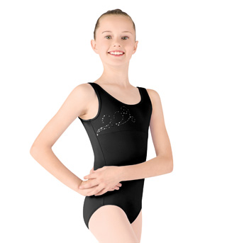Girls Tank Diamante Swirl Leotard - Style No M318C
