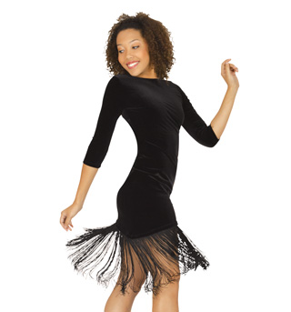 Velvet Dress with Fringe and Brief - Style No N7038