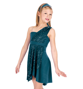 Child Sparkling Asymmetrical Lyrical Dress - Style No N7047C