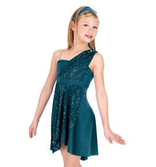 Child Sparkling Asymmetrical Lyrical Dress - Style No N7047Cx
