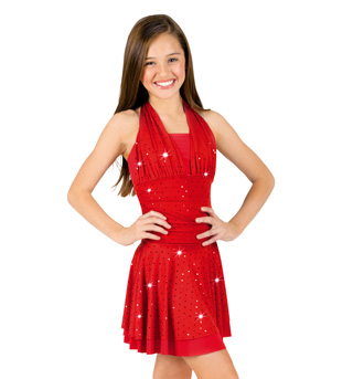Child Foil Dot Halter Dress with Attached Short - Style No N7048Cx