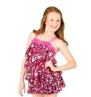 Child Sequin Ruffle Dress with Attached Leotard - Style No N7053C