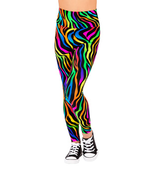 Girls Neon Zebra High Waist Leggings - Style No N7134C