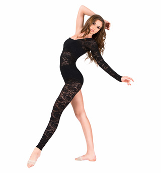 Adult Lace Asymmetrical Long Sleeve Unitard - Style No N7165