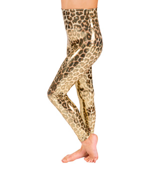 Girls Gold Leopard High Waist Legging - Style No N7189C